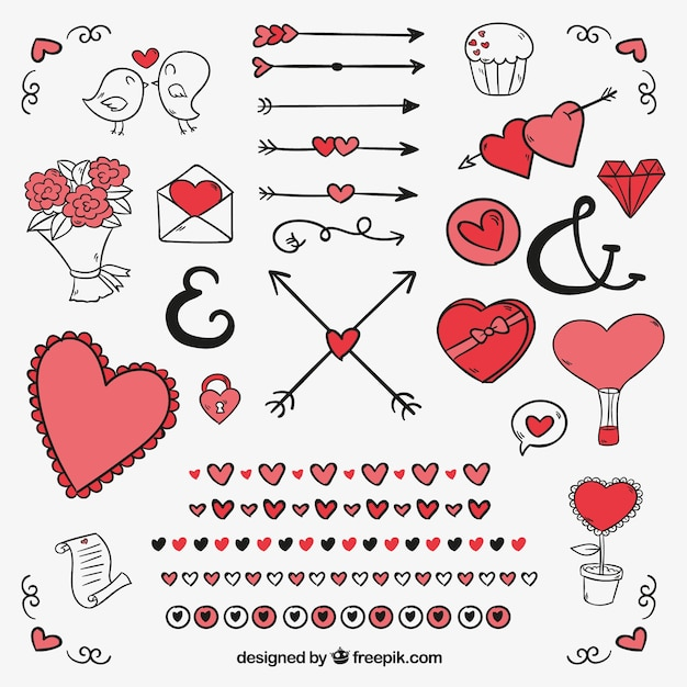 Pack Of Ornaments And Drawings For Valentine Free Vector