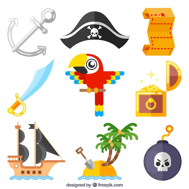 Pack of parrot and pirate adventure elements in\ flat design