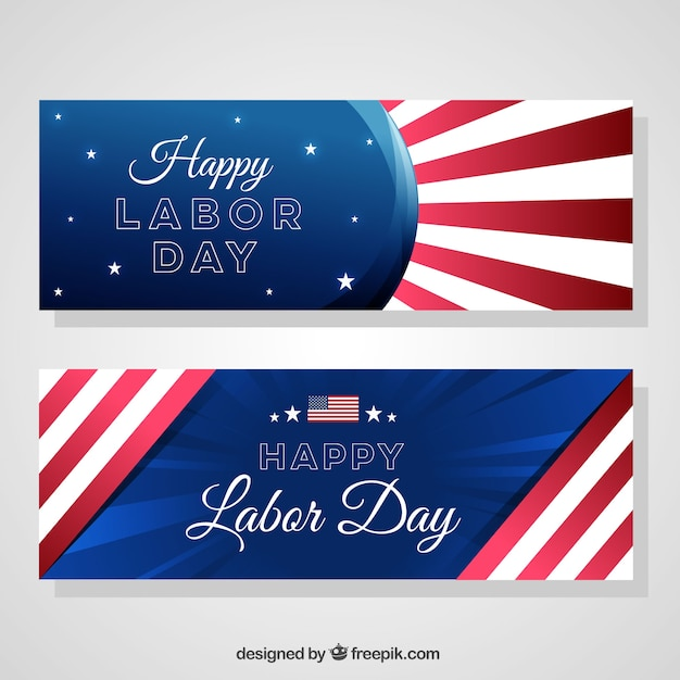 Pack of patriotic banners for labor day
