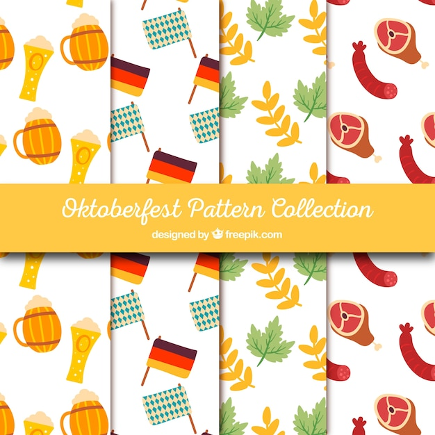 Pack of patterns with hand drawn oktoberfest elements