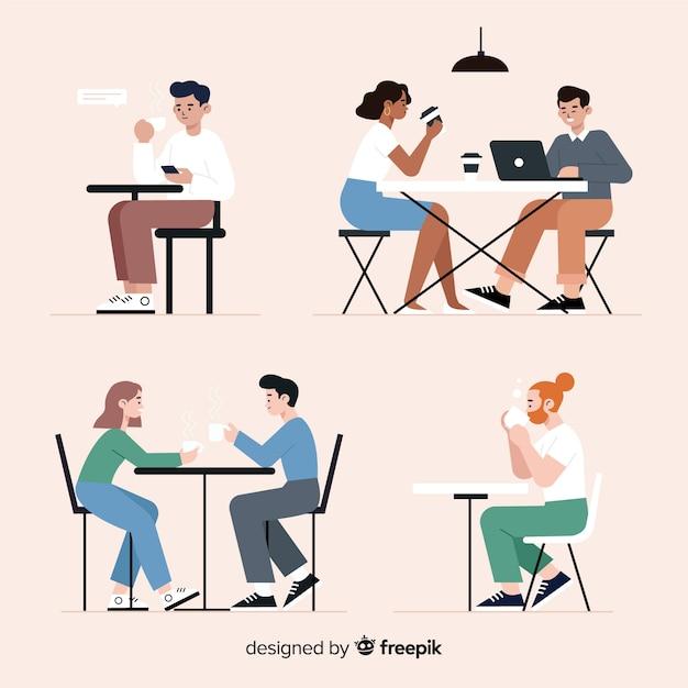카페에 앉아 사람들의 팩 무료 벡터