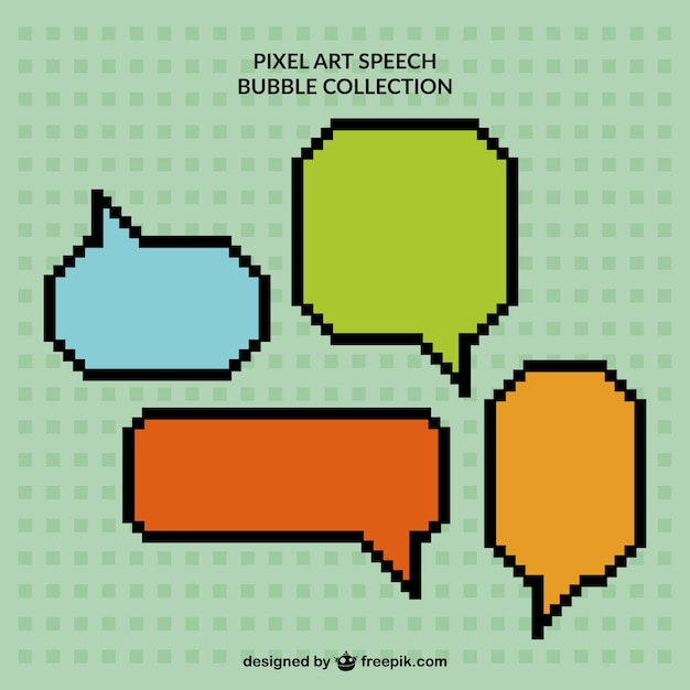 Pack of  pixelated colored speech bubbles