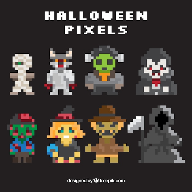 Pack Of Pixelated Halloween Video Game Characters Vector