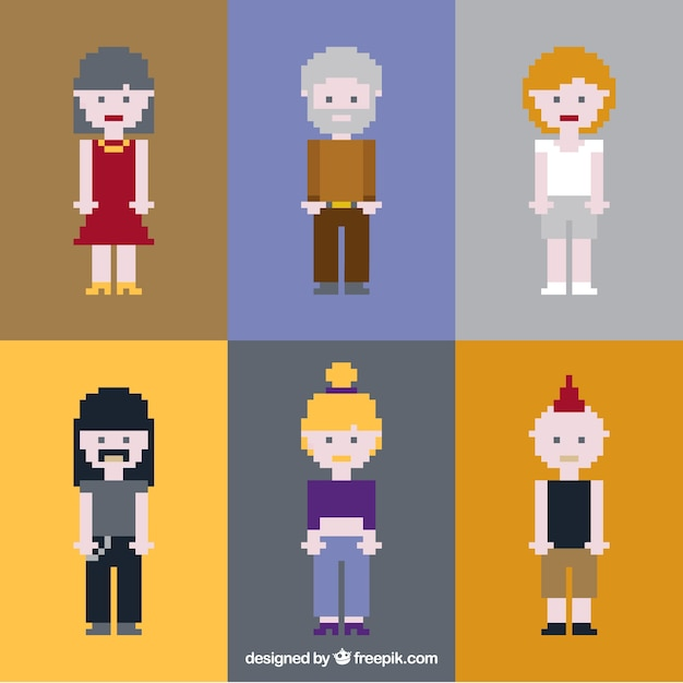 Pack of pixelated people of different\ style