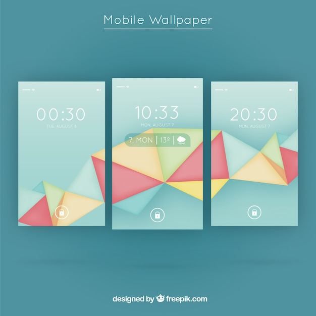 Pack of polygonal shapes mobile wallpapers