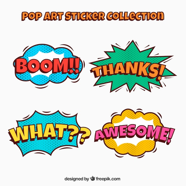 Pack of pop art stickers