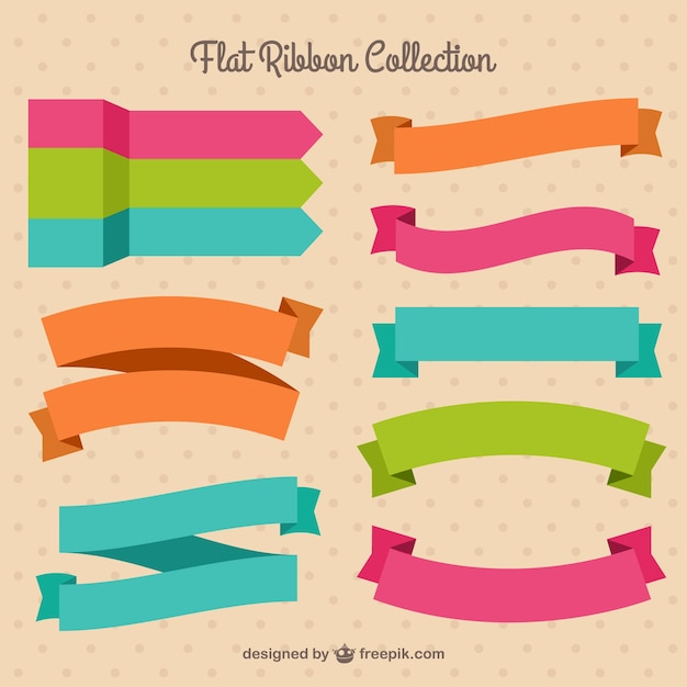 Pack of pretty colored ribbons in flat design Free Vector