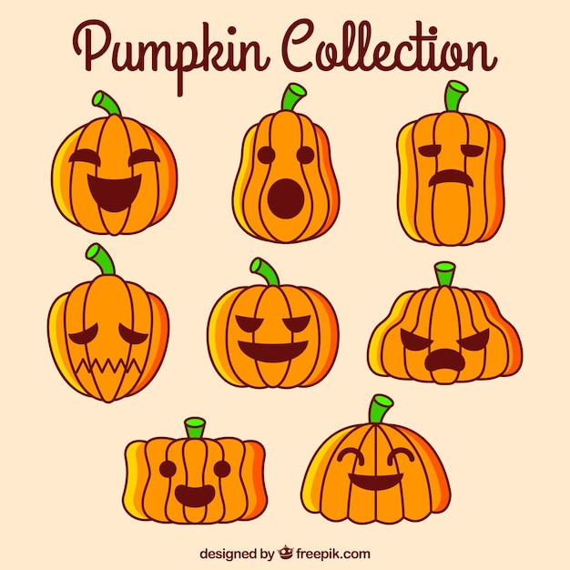 Pack of pumpkins with different\ expressions