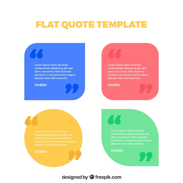 pack of quote templates in flat design vector free download