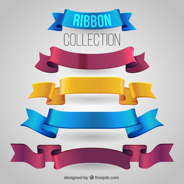 Pack of realistic ribbons Free Vector