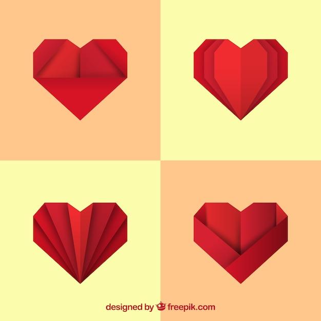 Vector heart origami