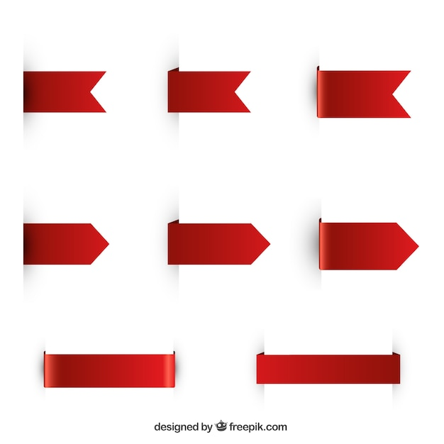 Pack of red ribbons Free Vector