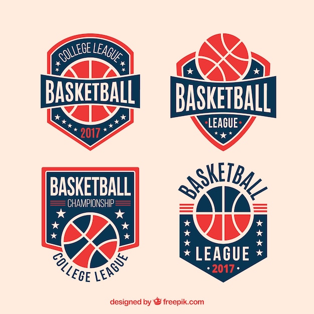 Pack of retro basketball badges Free Vector