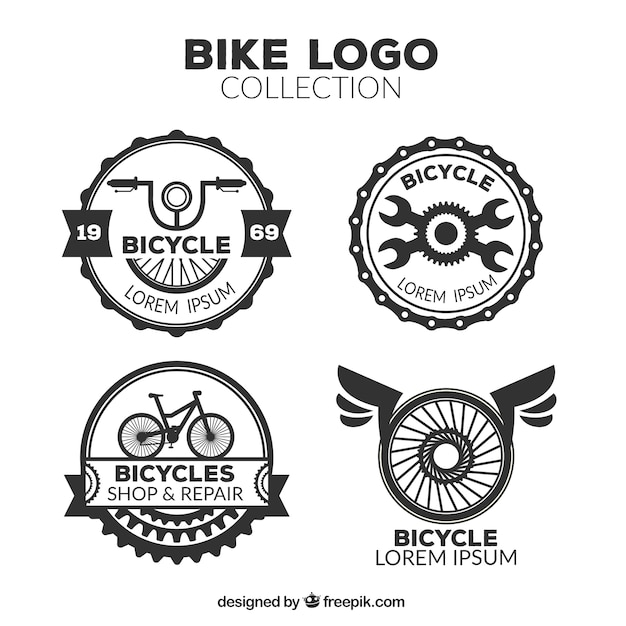Pack of retro bicycle logos