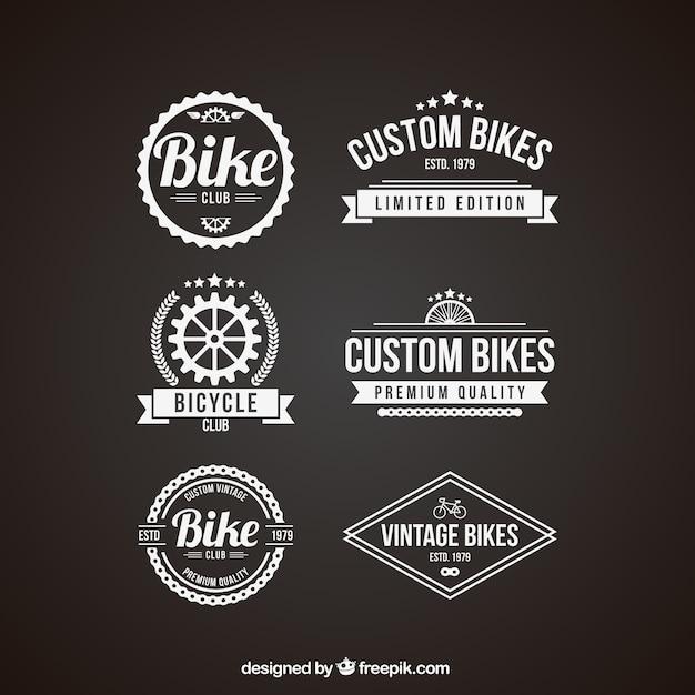 بسته سبک قدیمی مدالها دوچرخه در رنگ سفید