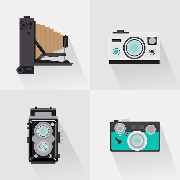 Pack of retro cameras in flat design