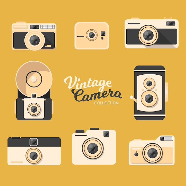 Pack of retro cameras in flat design