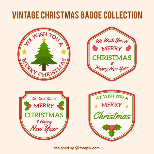 Pack of retro christmas badges