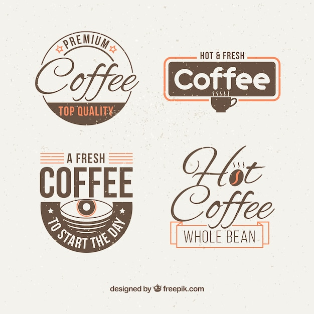 Pack of retro coffee shop stickers