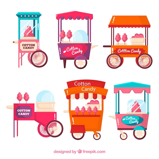 Pack of retro cotton candy carts in flat design