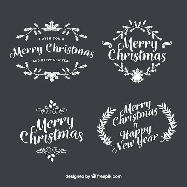 Pack of retro hand-drawn merry christmas badges
