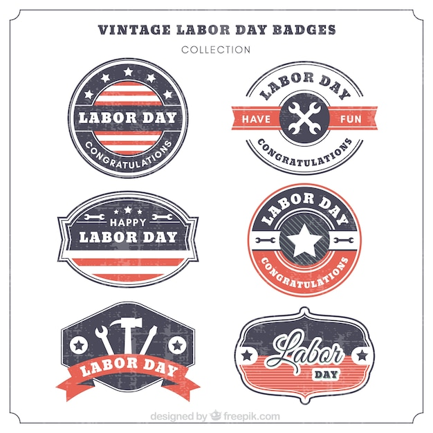 Pack of retro labor day logos