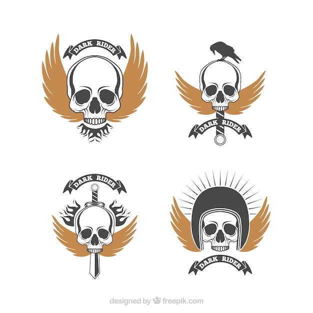Pack Of Retro Skull Logos With Golden Wings Vector Free Download