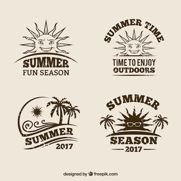 Pack of retro summer badges Free Vector