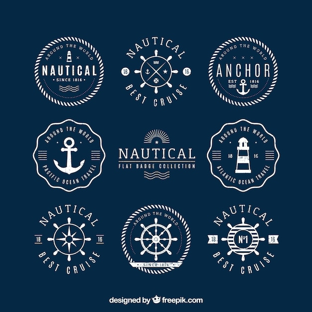 Pack of round nautical badges Free Vector