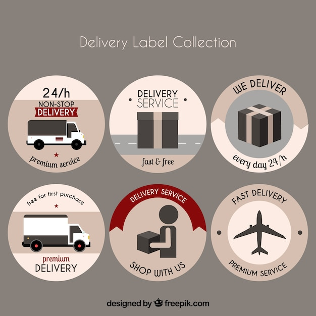 Pack of round stickers of delivery in flat design