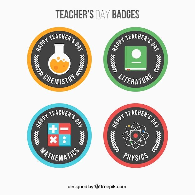 Pack of round teacher\'s day badges