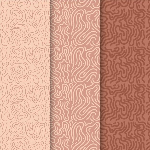 丸みを帯びたラインパターンのパック 無料ベクター