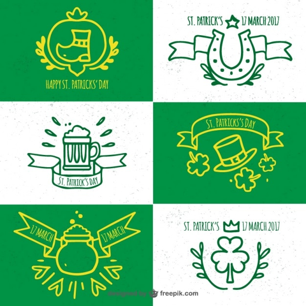 Pack of saint patrick's hand drawn insignia