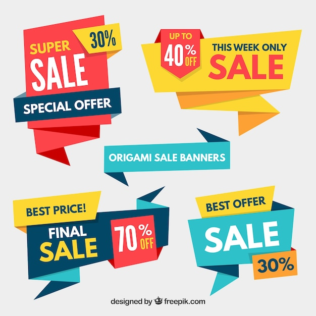 Pack of sale origami banners Free Vector