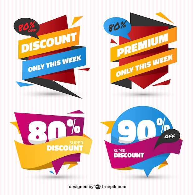 Pack of sale stickers in flat design free vector
