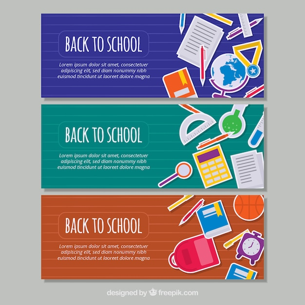Pack of school banners in flat design