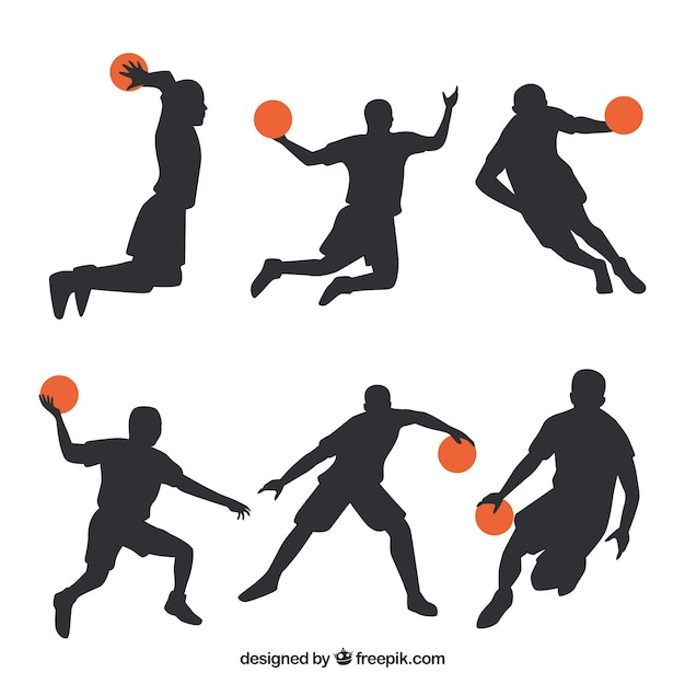 Pack of silhouettes basketball players