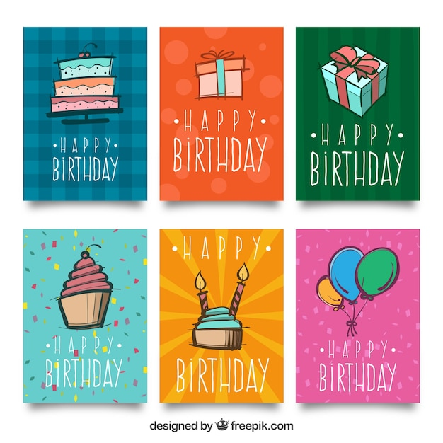 Pack Of Six Birthday Cards With Drawings Stock Images Page