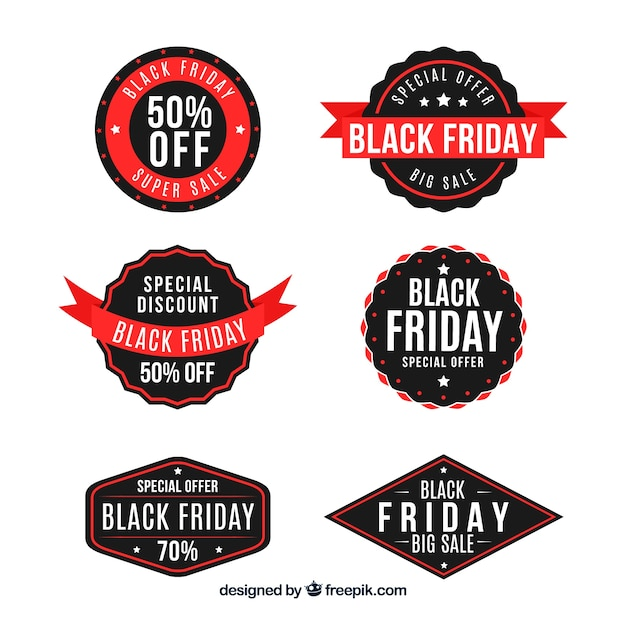 Pack of six black friday retro stickers