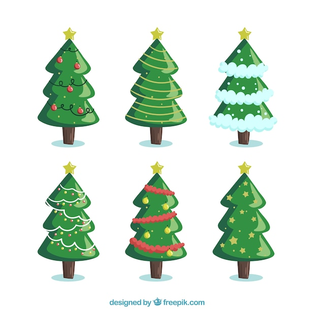 Pack Of Six Christmas Trees Vector Free Download