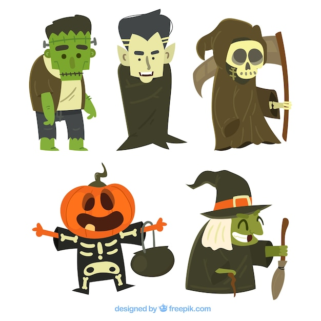 Pack of six funny halloween characters
