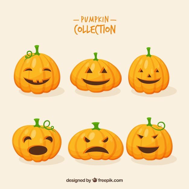 Pack Of Six Funny Halloween Pumpkins Free Vector