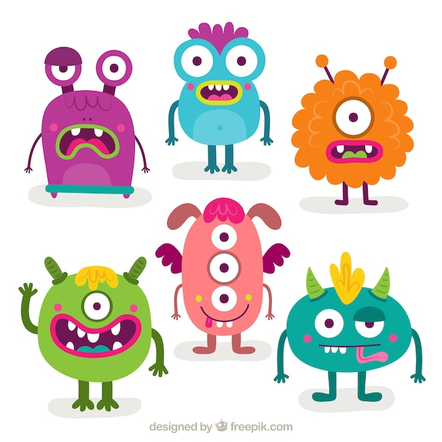 Pack of six funny monsters Free Vector