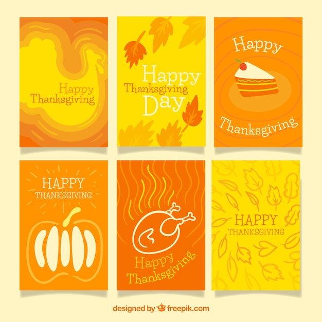 Pack of six hand drawn thanksgiving cards