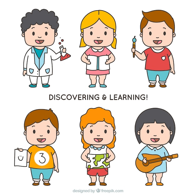 Pack of six happy students discovering and learning