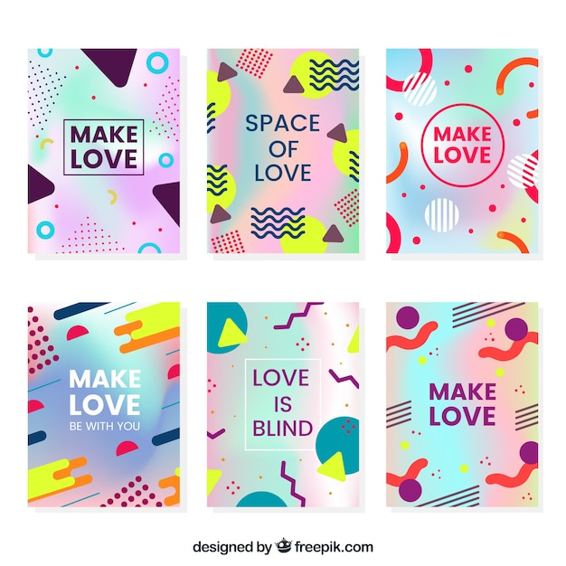 Pack of six holographic cards with geometric shapes