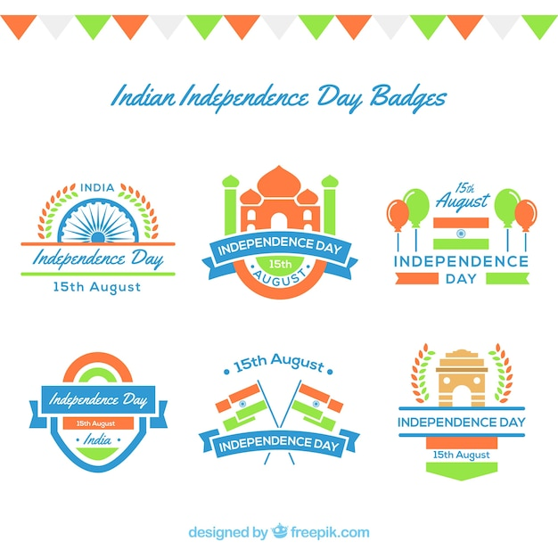 Pack of six india independence day badges