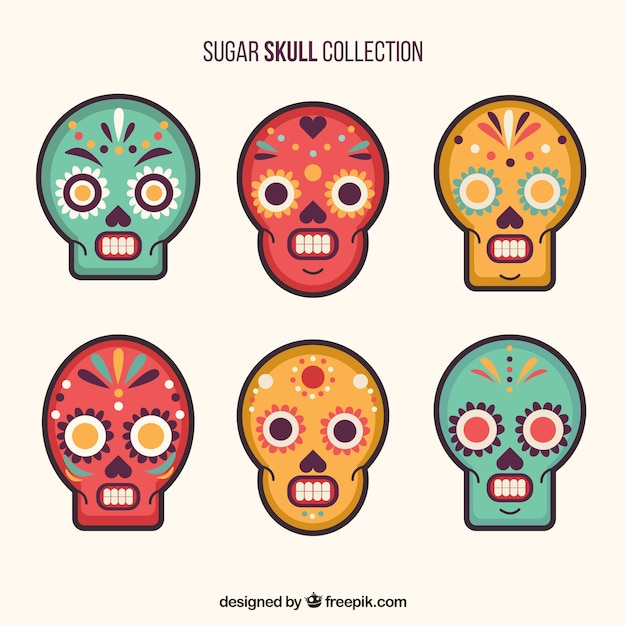 pack of six ornamental skulls with different colors vector