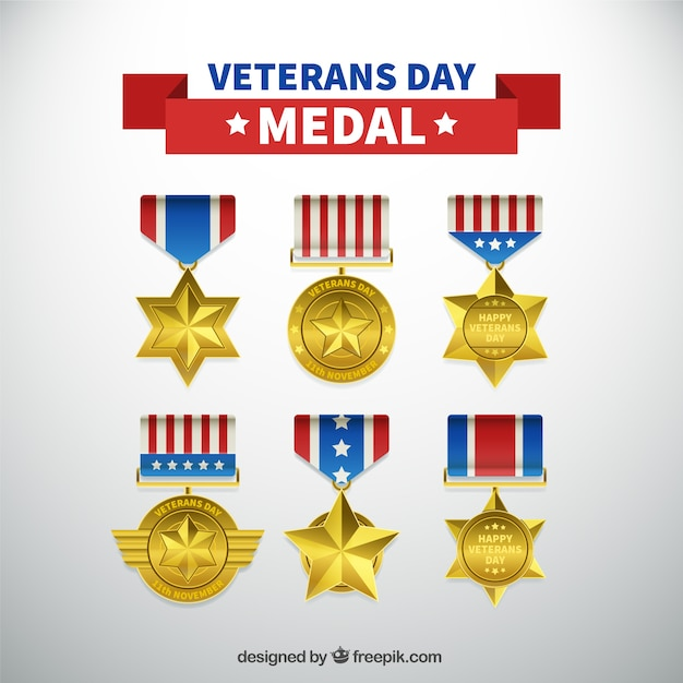 Pack of six realistic medals for veterans\ day