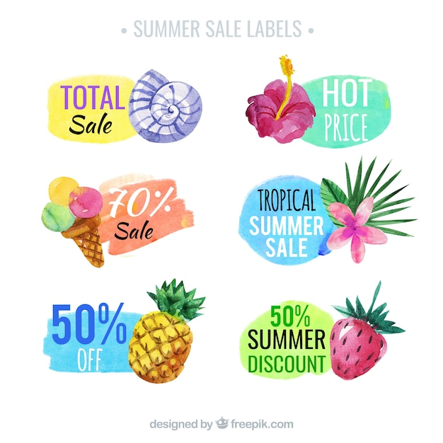 Pack of six summer sale labels in watercolor style Free Vector